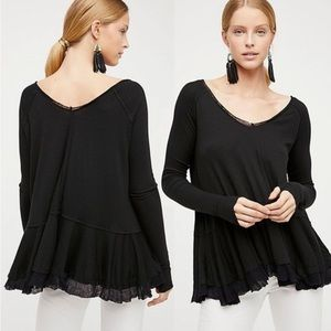 We the free people black ruffle tangerine tee new